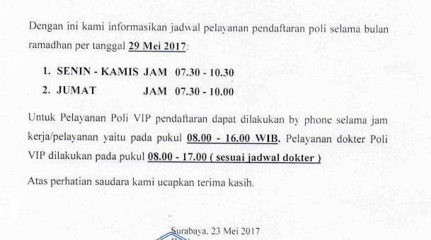 Pelayanan Pendaftaran Rawat Jalan (Poliklinik) Selama Bulan Ramadhan 2017